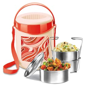 Milton Econa 3 Containers Plastic Lunch Box-Red