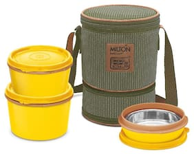 Milton Flexi Insulated Inner Stainless Steel Lunch Box Set 3 pcs - Yellow