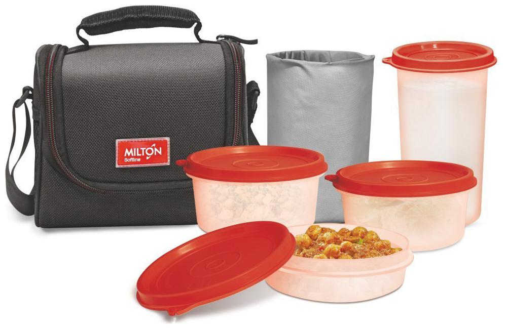 Milton Full Meal Combo 3 Containers Plastic Lunch Box Black