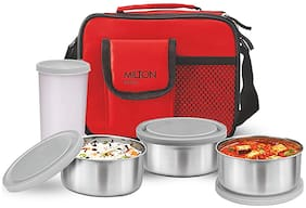 Milton Steel Combi 3 Containers Stainless Steel Lunch Box-Red