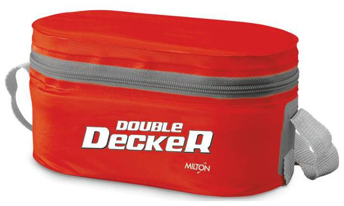 Milton Double Decker 3 Container Plastic Lunch Box   Red