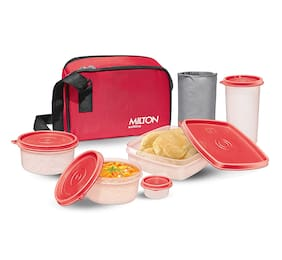 Milton Prime Lunch 4 Containers Plastic Lunch Box-Red