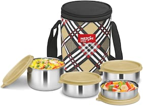 Milton Smart Meal 4 Containers Stainless steel Lunch Box - Beige