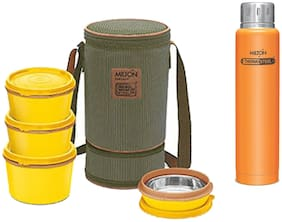 Milton 4 Container Yellow Tiffin with Orange Hot & Cold Elfin Water Bottle 500 ml Combo