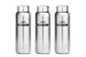 Milton Aqua Stainless Steel Fridge Water Bottle 750 ml Set Of 3;Silver