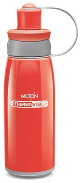 Milton 400 ml Stainless Steel Red Water Bottles - Set of 1