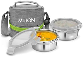 Milton CHIC 2 2 Container Stainless Steel Lunch Box Set of 1 ( Grey ,  300 ml )