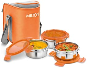 Milton CUBE 3 3 Container Stainless Steel Lunch Box Set of 3 ( Orange ,  300 ml )