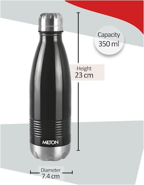 Milton DUO DELUXE 350 Thermosteel Flask Set of 1 ( Black , Stainless Steel ,  350 ml )