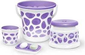 Milton Duplex Spa 4 Round Printed Bathroom Set, Set of 4, Purple
