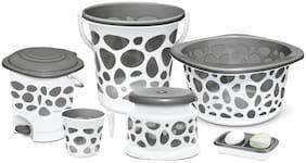 Milton Duplex Spa 6 Round Printed Bathroom Set, Set of 6, Grey