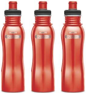 Milton Easy Grip Stainless Steel Fridge Water Bottle 750 ml Set Of 3, Red