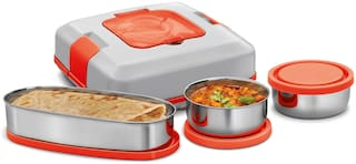 Milton FLATRON ELECTRIC TIFFIN 3 Container Stainless Steel Lunch Box Set of 3 ( Red ,  800 ml )