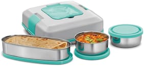 Milton FLATRON ELECTRIC TIFFIN 3 Container Stainless Steel Lunch Box Set of 3 ( Green ,  800 ml )