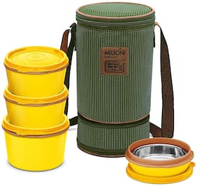 Milton FLEXI TIFFIN 3+1 4 Container Plastic Lunch Box Set of 1 ( Green ,  180;320;450 ml )