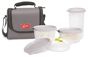 Milton Full Meal 3 combo 4 Pc Lunch pack with Glass;Grey