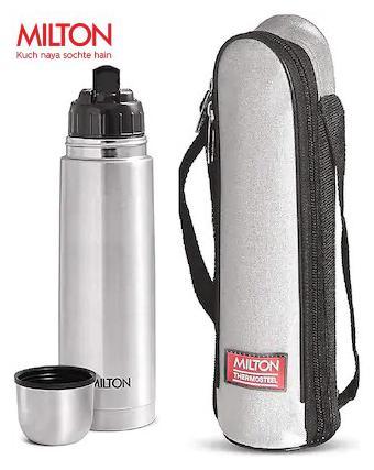 Milton Flip Lid 1L Thermosteel Flask Bottles, Silver