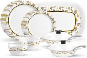 Milton Lissome Round Melamine Dinner Set of 31;Golden Leaf