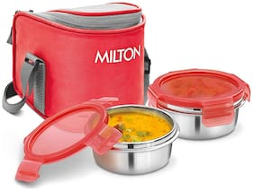 Milton CUBE 2 2 Container Stainless Steel Lunch Box Set of 1 ( Red ,  300 ml )