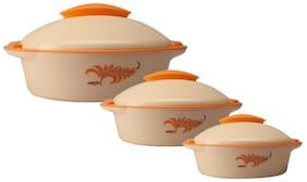 Milton Jr Crisp Dlx Set (500   1200   2000 Ml)  Orange Casserole Set Of 3