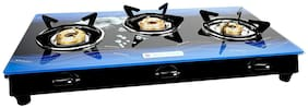 Milton Premium 3 Burner Glass Top (Blue) Gas Stove With Ms Frame & Brass Burners