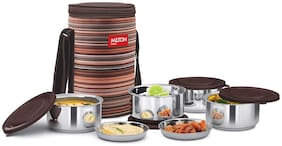 Milton RIBBON LUNCH BOX 4 4 Container Stainless Steel Lunch Box Set of 4 ( Brown ,  350 ml )
