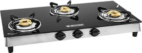MILTON Black Toughened Glass Top with Stainless Steel Frame Gas Stove  3 Burner