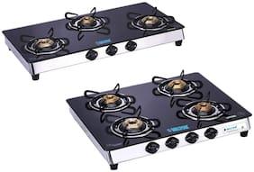 Milton Sapphire 3 Burner & 4 Burner Black Glass Top;Stainless Steel Frame Gas Stove (Combo)