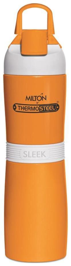 Milton 400 ml Stainless Steel Orange Water Bottles - Set of 1