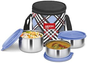 Milton SMART MEAL 3 3 Container Stainless Steel Lunch Box Set of 1 ( Blue ,  320;500 ml )