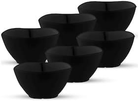 Milton Square Round Melamine Veg Bowl;Set of 6;Black