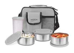 Milton Steel Combi 4 Container Stainless Steel Lunch Box Set of 4 ( Grey ,  280 ml  , 420 ml )