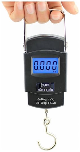Mini Digital Scale Hanging Luggage Fishing Weighing Scale with Blue Background Light 10lb/50kg capacity