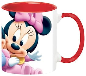 Minnie Mickey Mouse Coffee Mug - Birthday Gift for Kids Ceramic Black Mug by Ashvah-Mug-1783-Red
