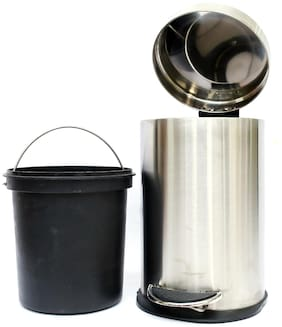 Mintage Stainless Steel Dustbin Paddle bin Plain 5 lt