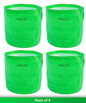 Mipatex Woven Fabric Grow Bags 15inch x 15inch;Heavy Duty Plant Pot Fruits Vegetable;Terrace Home Kitchen Gardening Bags (Pack of 4)