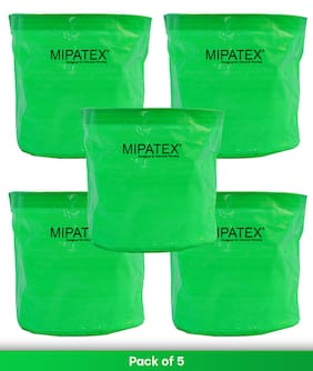 Mipatex Woven Fabric Grow Bags 10in x 10in;Heavy Duty Plant Pot Fruits Vegetable;Terrace Home Kitchen Gardening Bags (Pack of 5)