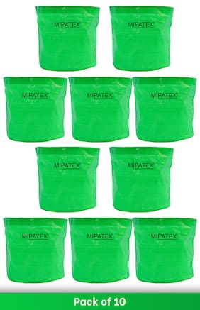 Mipatex Woven Fabric Grow Bags 10in x 10in;Heavy Duty Plant Pot Fruits Vegetable;Terrace Home Kitchen Gardening Bags (Pack of 10)