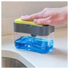 Misaki 2 in 1 Soap Pump Plastic Dispenser for Dishwasher Liquid;Holder Messfree Dispenser