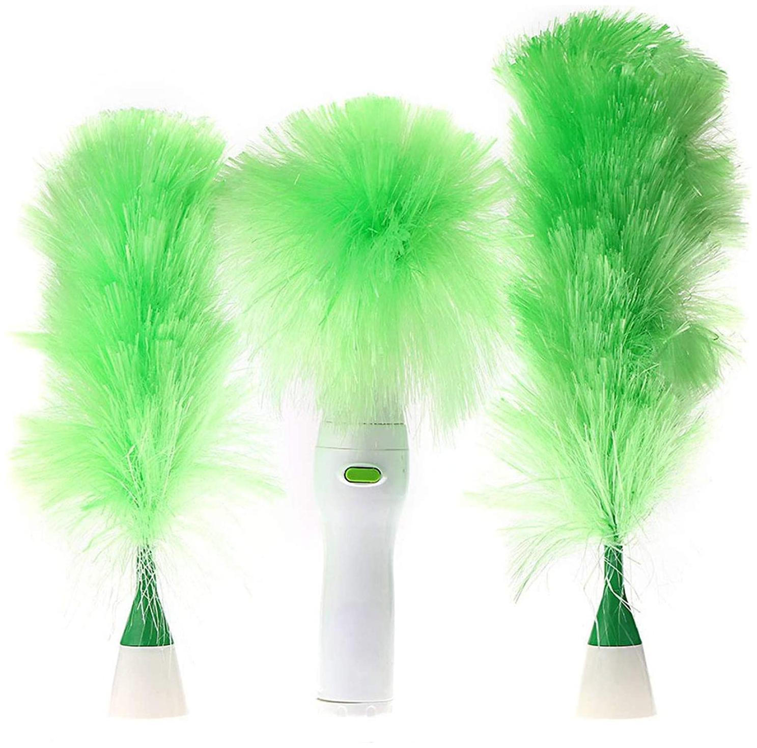 Misaki Holding Feather & Hand-Held Grabbing Spin Duster with Blinds Dust Cleaning...