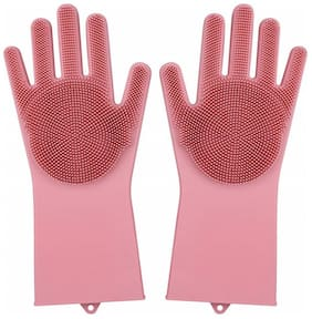 Misaki Magic Silicone Scrubbing Hand Gloves Scrubber for Dishwashing and Pet Grooming,Latex Free - Pink
