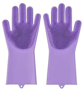 Misaki Magic Silicone Scrubbing Hand Gloves Scrubber for Dishwashing and Pet Grooming,Latex Free - Voilet