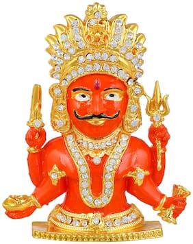 MissMister Brass Micron Goldplated CZ Nakoda Bhairav Jain Idol Stand(MM7710STKL)