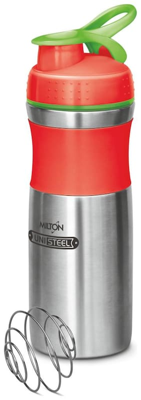 Milton 800 ml Stainless Steel Red Water Bottles - Set of 1