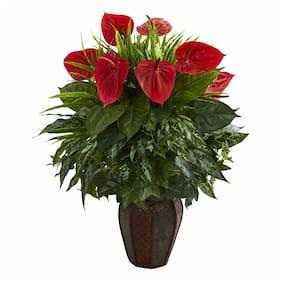 Mixed Anthurium Artificial Plant in Decorative Planter