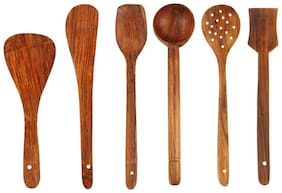 Mixoma 100% Assured Quality Wood Handmade Wooden Serving Set and Cooking Spoon Kitchen Utensil Set of 6
