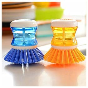 Mixoma Premium Quality Dish/Washbasin Plastic Cleaning Brush with Liquid Soap Dispenser (Pack of 2Pcs) Assorted Colors