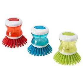 Mixoma Premium Quality Super Cleaning Brush with Liquid Soap Dispenser Assorted Colors (3Pc)