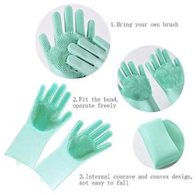 MK Silicone Scrubbing Gloves;Non-Slip;Dishwashing and Pet Grooming;Magic Latex Gloves for Household Cleaning Great for Protecting Hands in Dishwashing (Multicolor)