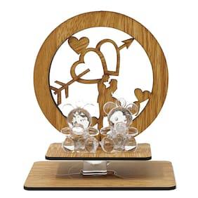 Mobaccs Wood & Crystal Love Teddy Couple Showpiece Figurine